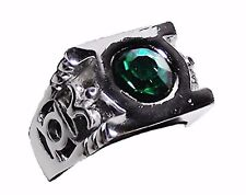 DC Comics GREEN LANTERN Green Stone Silvertone POWER RING - Men's Size 8