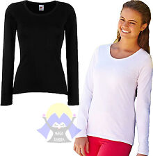 T-shirt Donna FRUIT OF THE LOOM Aderente LADY-FIT Maglietta/MAGLIA Manica Lunga