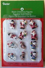 "Miniature Dollhouse Mini CHRISTMAS Tree ~ 12 1⅛"" Resin Santa & Snowman Ornaments"