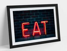 KITCHEN NEON EAT SIGN -ART FRAMED POSTER PICTURE PRINT ARTWORK- NAVY
