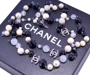 CHANEL CC Logos Crystal Necklace Black Stone 47 inch long 08A w/BOX #9009