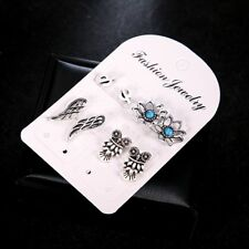 4 Pairs/Set Bohemian Woman Turquoise Lotus Cactus Stud Earrings Set Owl Wings