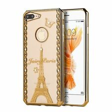 For Apple iPhone 7 Plus Gold Clear Fairy Paris Rubber Case Cover w/Diamond