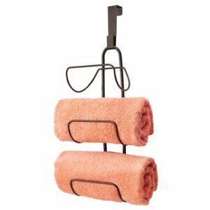 mDesign Metal Over Shower Door Towel Rack Storage Organizer, 3 Tiers - Bronze