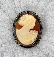 Antique Vintage Carved Shell Cameo Pendant Pin  in Sterling Silver Setting