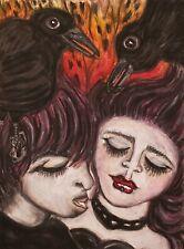 Crow Goth Couple 13x19 Gothic Art Print Signed Artist KSams Burn the Cure