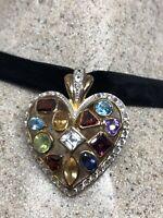 Vintage Heart Choker Necklace Genuine Gemstone Golden 925 Sterling Silver
