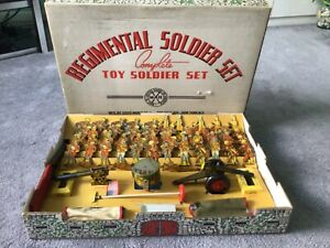 Rare Marx REGIMENTAL Boxed TIN Soldier Set,1940, Lots of Play Value Here.