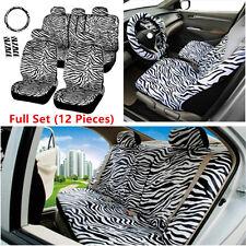 12Pcs Short Plush White Zebra Seats Covers Set Most Car Auto Seats Universal Fit