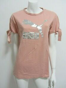 PUMA sz S/8-10 short sleeve apricot/silver cotton active wear top AS NEW