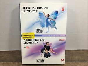 Adobe Photoshop Elements 7/Premiere Elements 7 Complete 2 Disk CD-Rom Software-