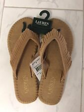 591dc220fa1 NWT POLO RALPH LAUREN WOMENS SUEDE LEATHER FRINGE FLIP FLOPS SANDALS SHOES  7 B
