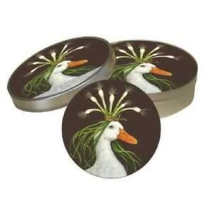 New PPD Vicki Sawyer Pulpboard 12 Coasters Tin Case MIRANDA Duck Animal Birds