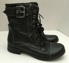 Guess Womens Black Ankle Combat Boots Shoes Lace Up 6 Buckle Zipper