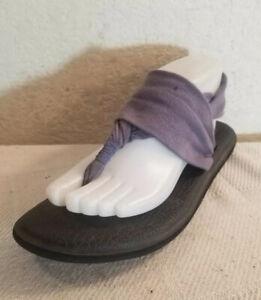 Sanuk Wmn Sz 9 Blue Thong Fabric Yoga Mat Sling Sandals Flats Shoes