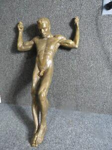 Bronze Nude Male by Hiram Ball  22 inch