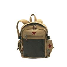 Deluxe Khaki Vintage Military Canvas Mesh Front Backpack School Bag 9165 Rothco