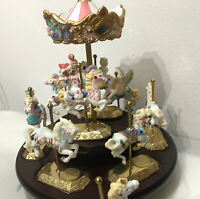 WESTMINSTER PORCELAIN Moving HORSE MUSIC Box CAROUSEL Merry Go Round Please Read