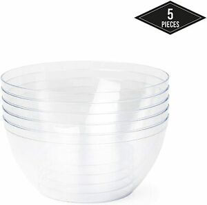 5 Pack Extra Large Clear Hard Plastic Salad Serving Bowls Outdoor Party 3500ml