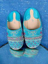 Chinese Hooyi Cheongsam Geisha Slippers Aqua Blue & Pink Shoes Sz 6 T ❤️sj17j16