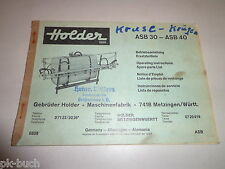 Betriebsanleitung / Teilekatalog Holder Anbauspritze / Feldspritze 60er Jahre