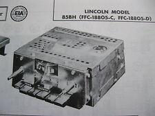 1958 LINCOLN 85BH TOWN & COUNTRY RADIO PHOTOFACT