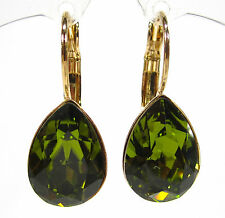 SoHo® Ohrhänger Ohrringe geschliffene Kristall tropfen olivine grün olive gold