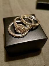 Avon Infinite Romance CZ Engagement Ring 3 Piece Set Silvertone Size 6 New