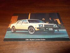 1981 Buick Skylark Limited Sedan Vintage Advertising Postcard