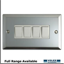 Volex 4 Gang 2 Way 10a Light Switch Polished Chrome With White Inserts