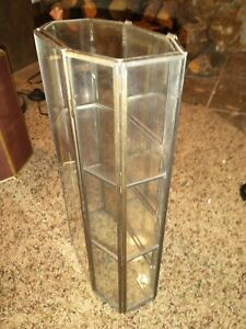 Vintage Glass Metal Wall Stand Up MINATURE Curio Cabinet Display Case