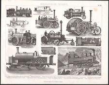 1870 Gravure originale locomotive train à vapeur industrie ferroviaire mécanique