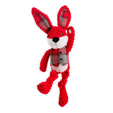 House of Paws Christmas Red Jumbo Cord and Tweed Hare Dog Toy   Medium Large