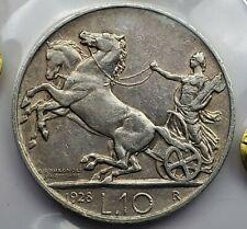 10 Lire 1928R Vittorio Emanuele III Giuseppe Romagnoli Italy Higly Grade + Rare!