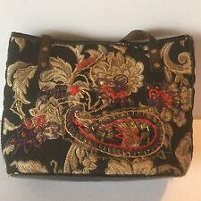 Bueno Handbag Purse Tapestry With Crewel Embroidery Embellishment Faux Fur Vinta