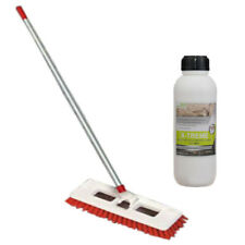 Patio Slab Deck Brush with Handle and 1L Xtreme Cleaning Solution Cleaner Set