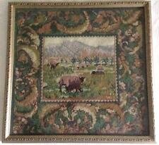 Framed EHRMAN SHEEP AT CWMCARVAN by SARAH WINDRUM vintage TAPESTRY NEEDLEPOINT