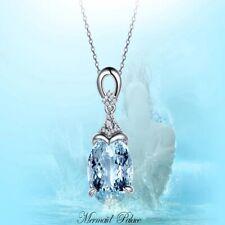 925 Sterling Silver Clavicle Chain Aquamarine Pendant Mermaid Ocean UK Seller