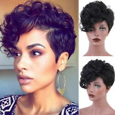 Genuine Hair ! Fashion Wig New Women's Short Black Curly Human Hair Wigs