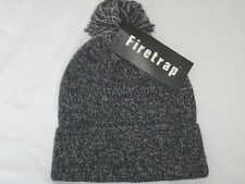 BNWT -  FIRETRAP Knitted  Bobble Beanie Hat -  Fleckled Navy Blue Grey