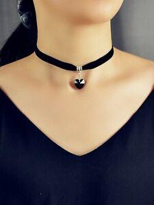 Gothic Style Black Velvet Choker Heart Charm Necklace Punk Halloween Accessories