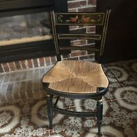 Hand Painted Vintage Folk Style Black Hitchcock Chair with Faux Rush Seat