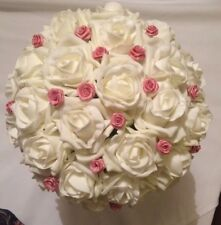 Wedding Flowers Bride / Bridesmaids Large Ivory & Pink Posy Bouquet