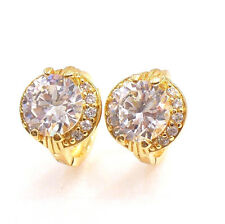 Women 18K Yellow Gold Plated Clear CZ Cubic Birthday Xmas Luxury Hoop Earrings