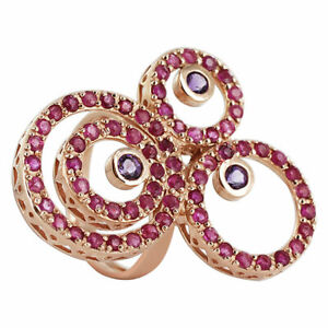 Amethyst Ruby Swirled Design Ring Size 7 Rose Gold Plated over Sterling Silver