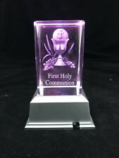 First Holy Communion Cup- 3d Laser Etched Crystal Block With LED Light Base