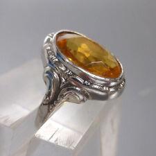❂ ►Antiker Jugendstil Ring, Silber, gelber Stein, ungetragen, Gr. 55,5, Ø 17,75