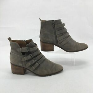 Lucky Brand Loreniah Ankle Bootie 10M Womens Side Zip Buckle Straps Leather Grey
