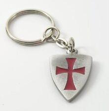 Hand crafted English Pewter Masonic Templar Shield Keyring NEW 12897