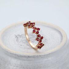 14k Rose Gold Round Cut Ruby Wedding & Anniversary Band Ring
